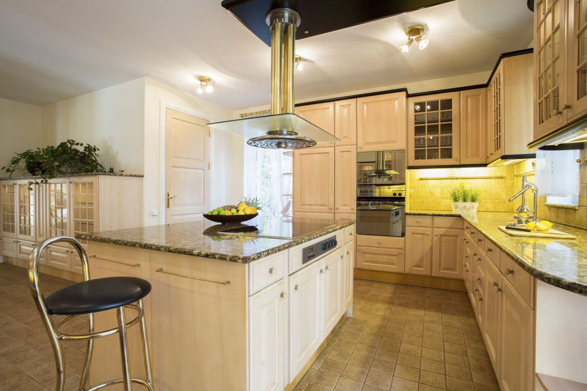 Golden Yellow Glorious Custom Kitchen Cabinets for a Dining Space