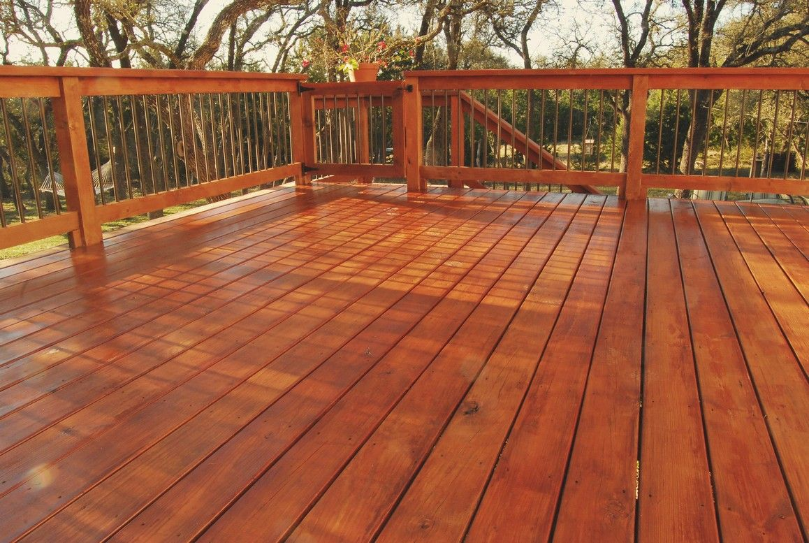 Brand new stained and sealed deck looking over backyard