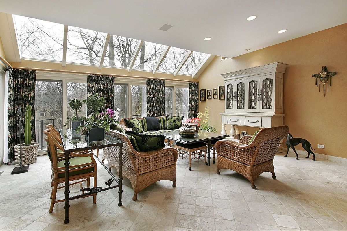 Green, Open Floral Sunroom