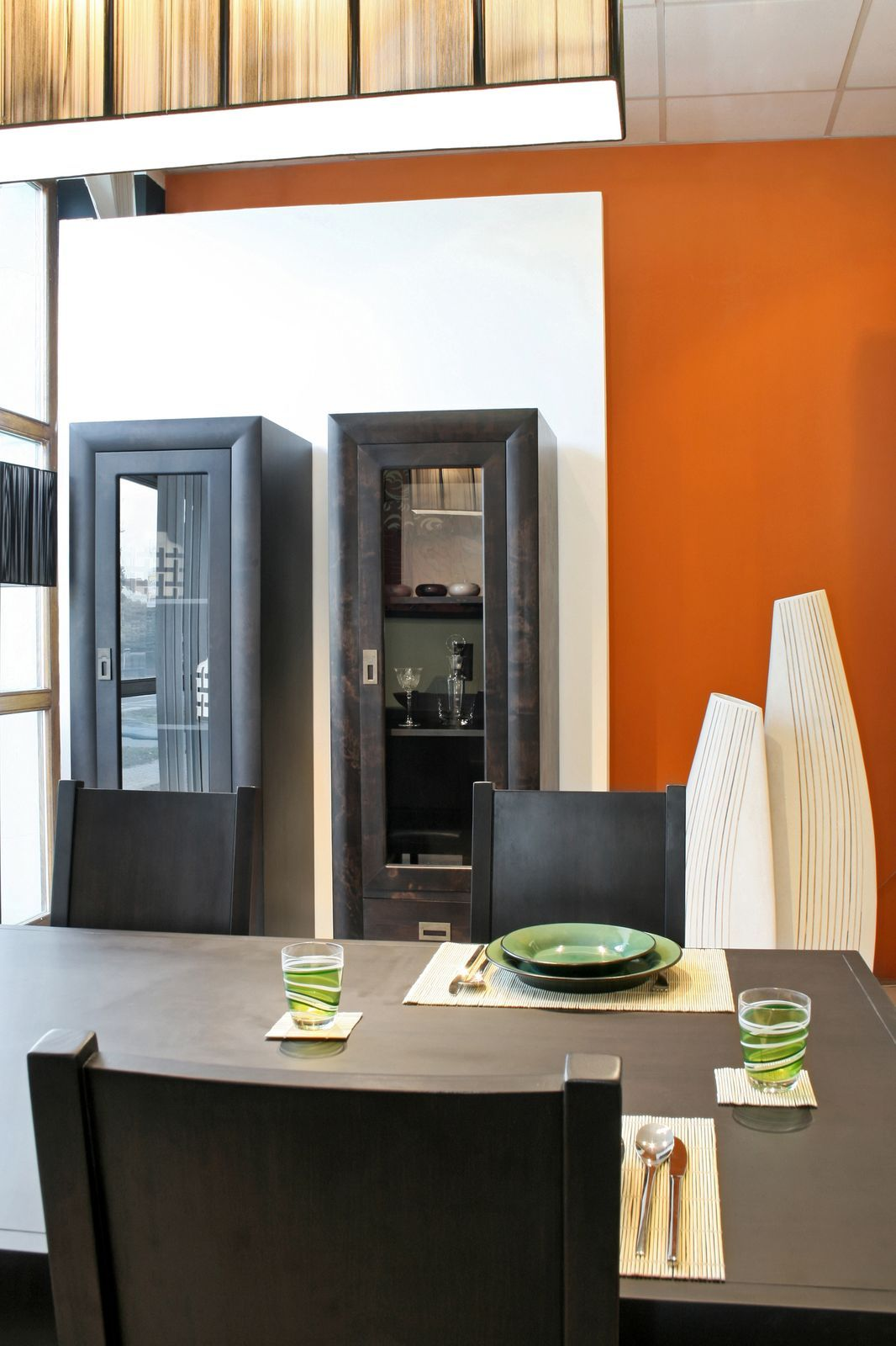 Burnt Orange Accents And Dark Stained Wood Table And