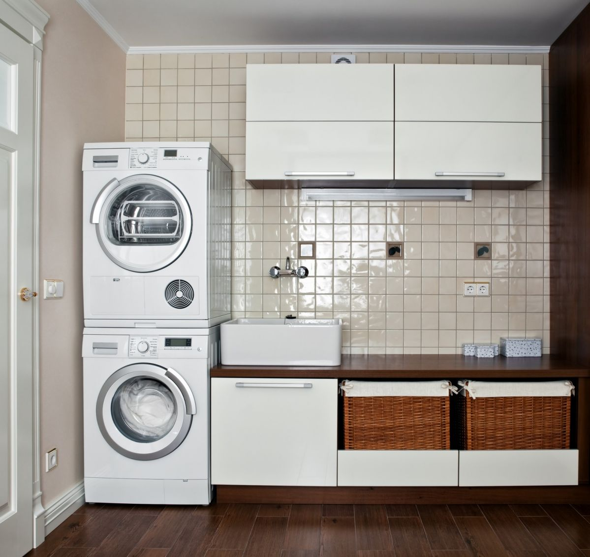 Funky and fun laundry room with some modern style