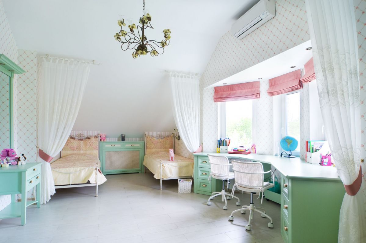 Touch of Pink Around White and Green Colored Interior Office Paint