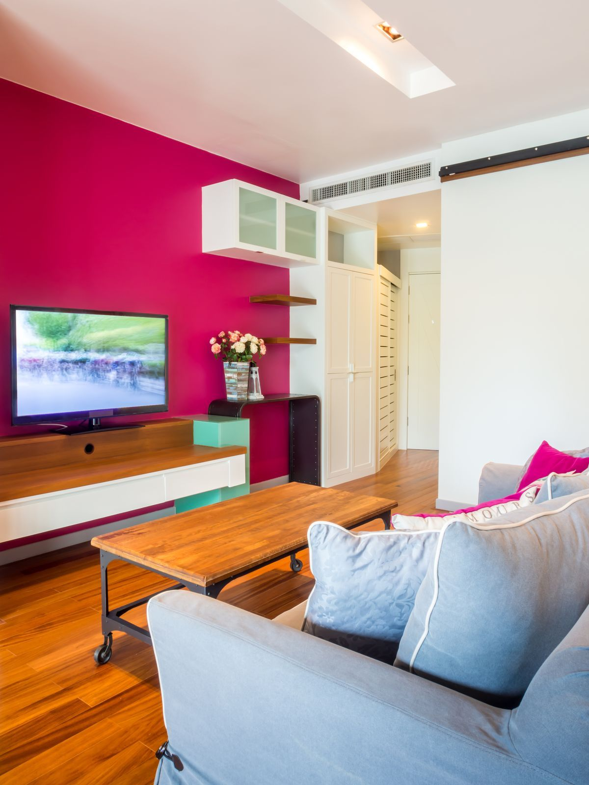 Fuchsia Accent wall in a Living Room
