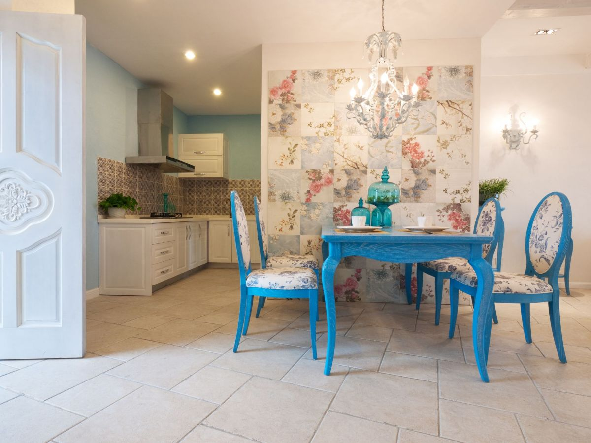 Floral Accent Wall Creates Incredible Atmosphere for a Custom Kitchen