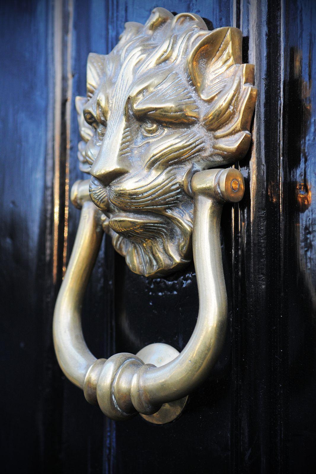 Custom Crafted Metal Lion Head Front Door Knocker Homeyou