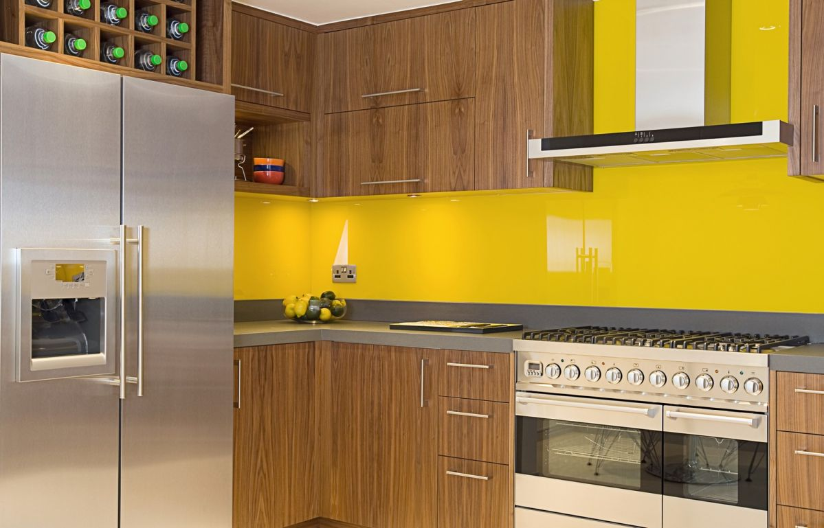 Bright kitchen with yellow walls and contemporary style