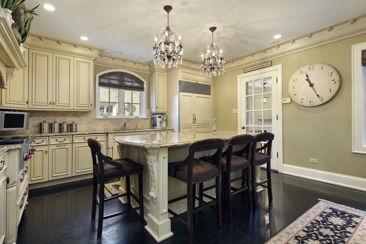 Classical Chandelier Style White Ornate Kitchen