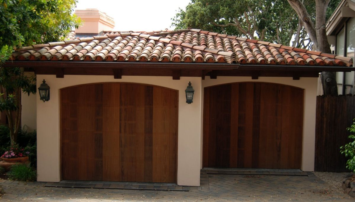 Spanish style ceramic tile roof on two car garage with for Spanish clay tile roof