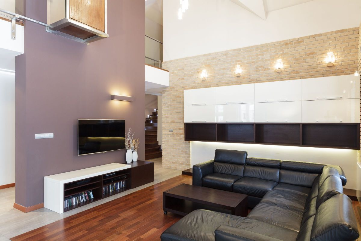 Purple Interior Accent Wall which Brings Focus to the Home Entertainment System