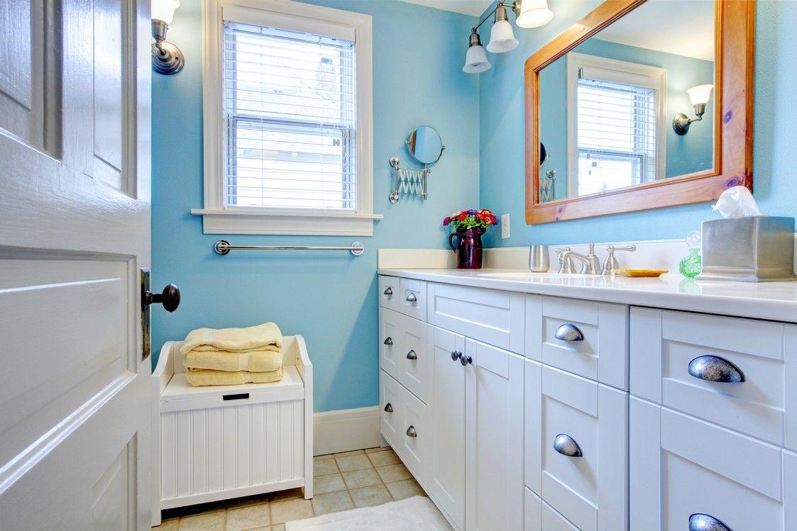 Bright Blue Half Bathroom Homeyou