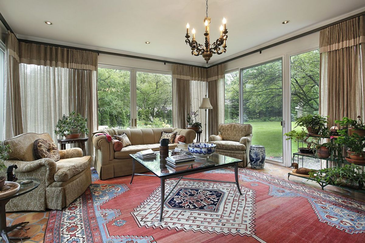 View to the garden from this classy living room