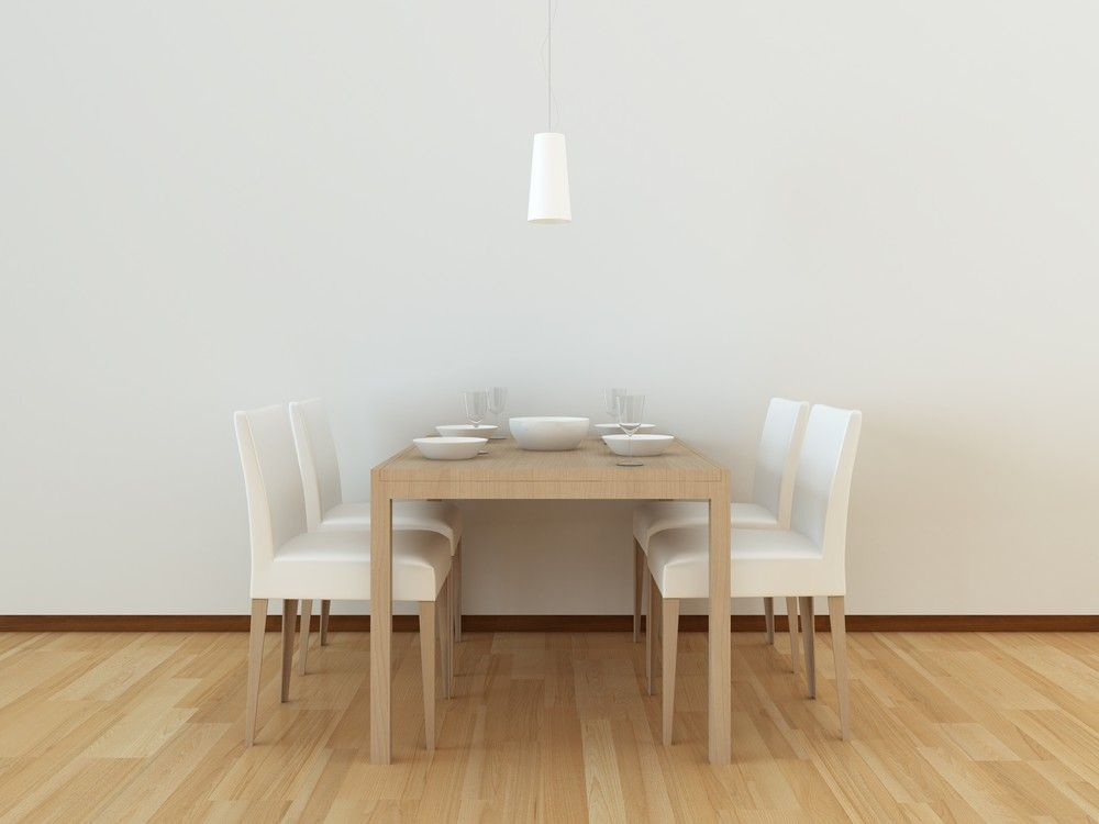 Bright white, clean and simple dining room