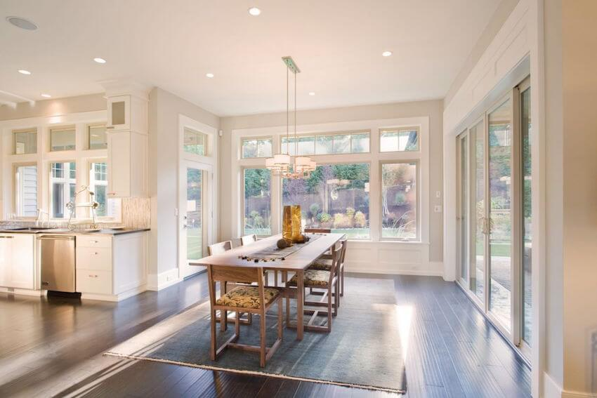 Gigantic open glass windows in a kitchen or dining room setting