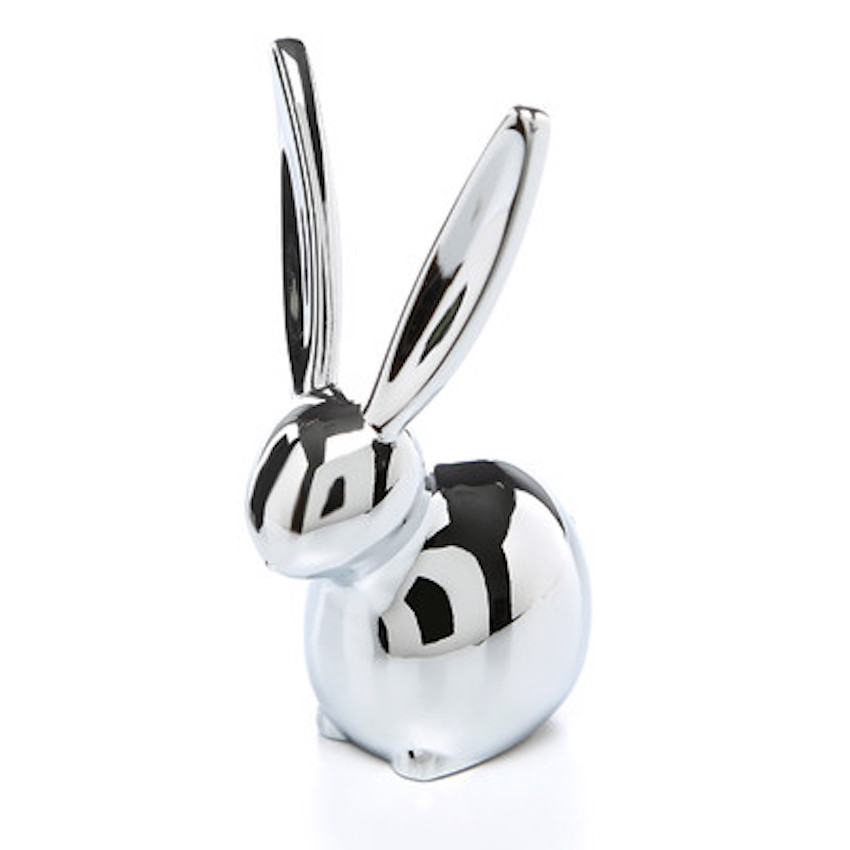 Ring holder bunny in chrome for a stylish room centerpiece