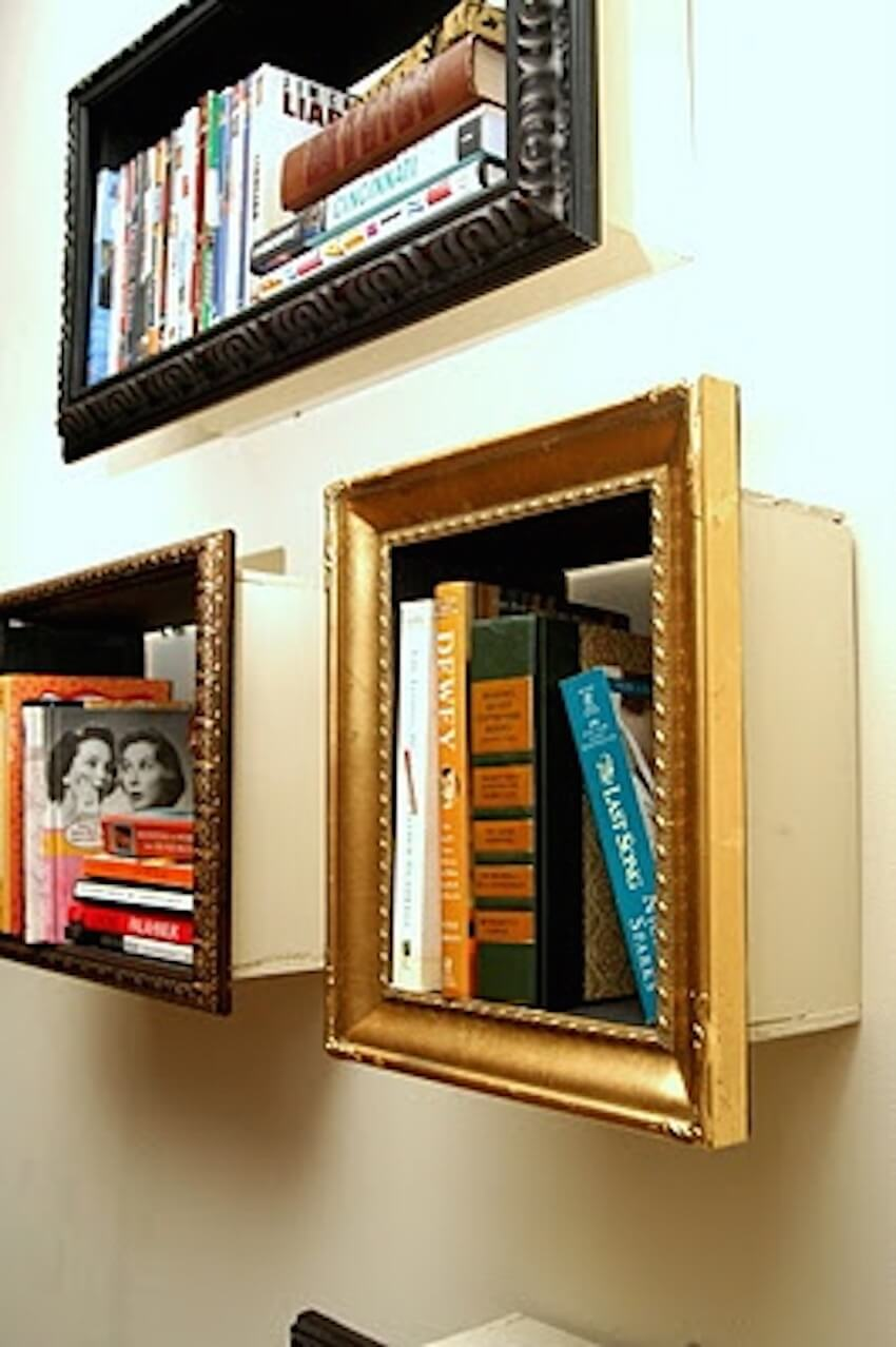 Use frames to create shelving to hold books.