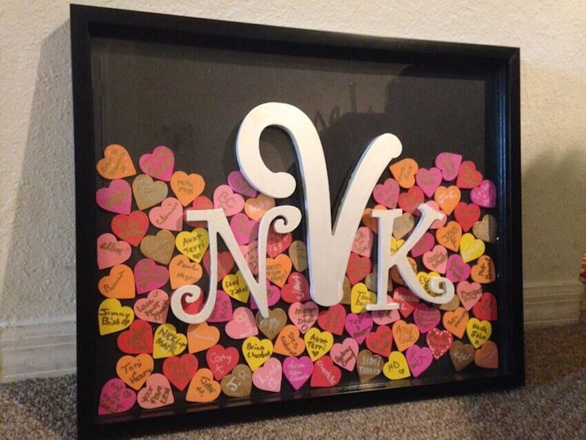 Use a shadowbox to frame your wedding guest list and hang it on your walls.
