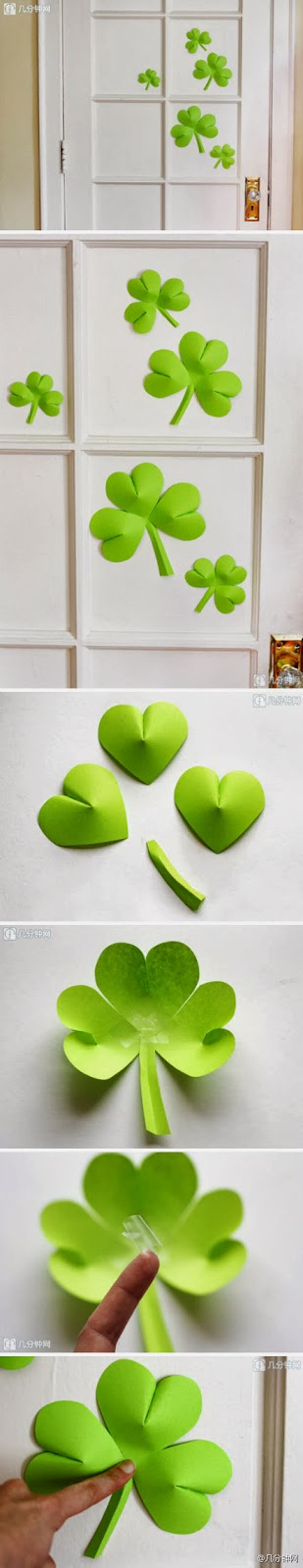 Easy paper clover step by step.