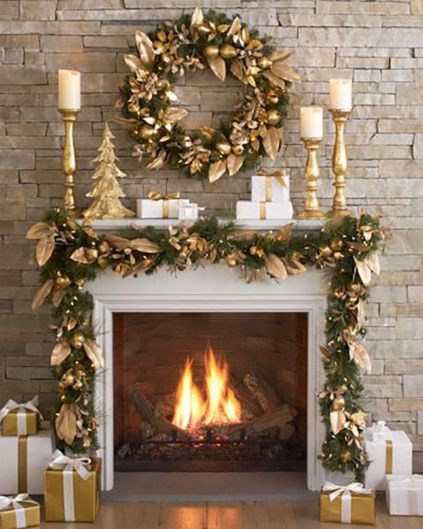 Golden Mantel Christmas Decor