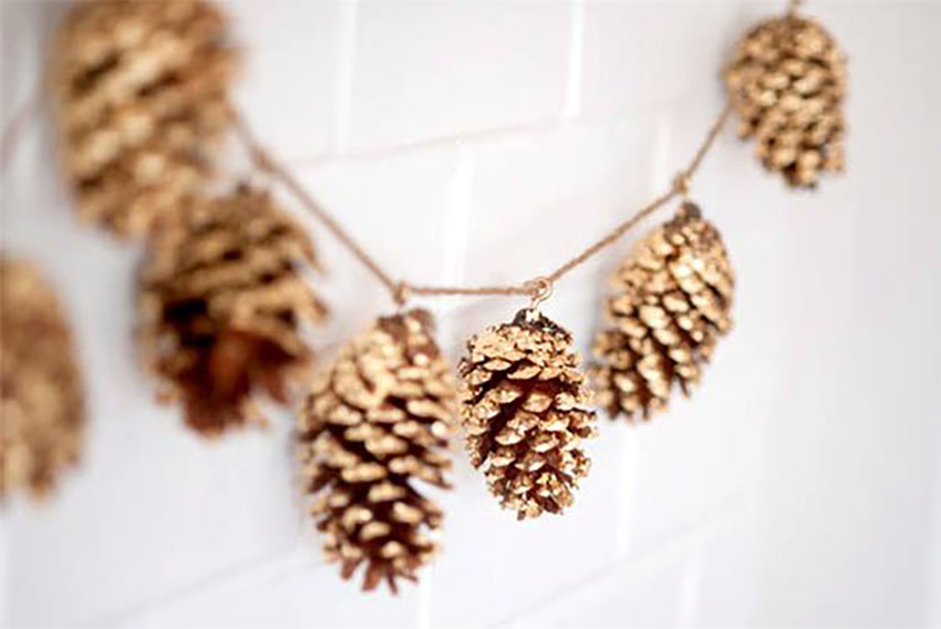 Spray Painted Golden Pinecone
