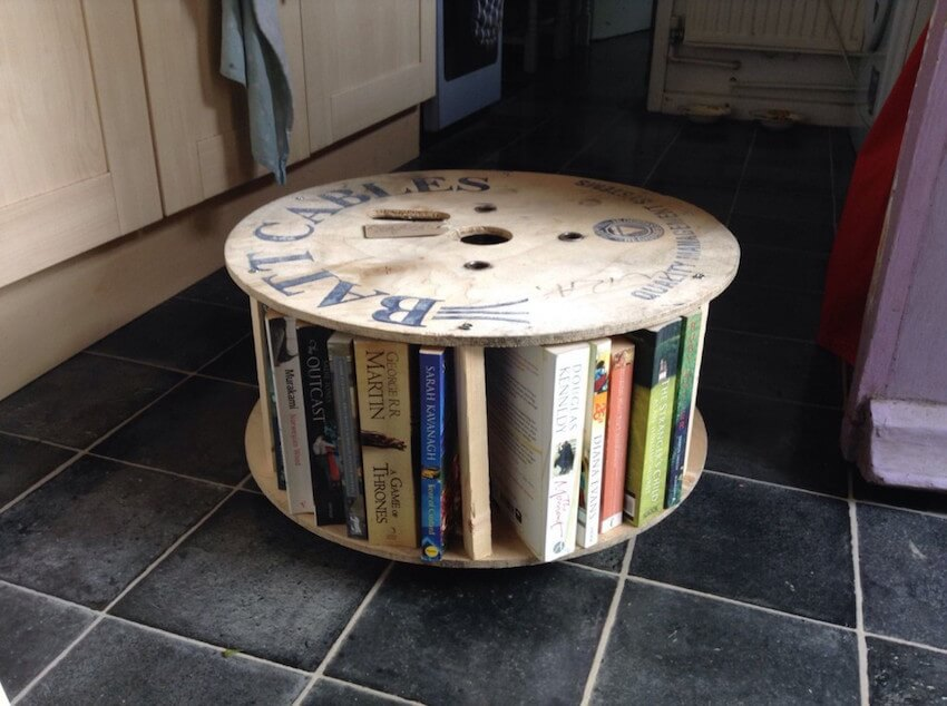 Custom made book rack from wooden spools