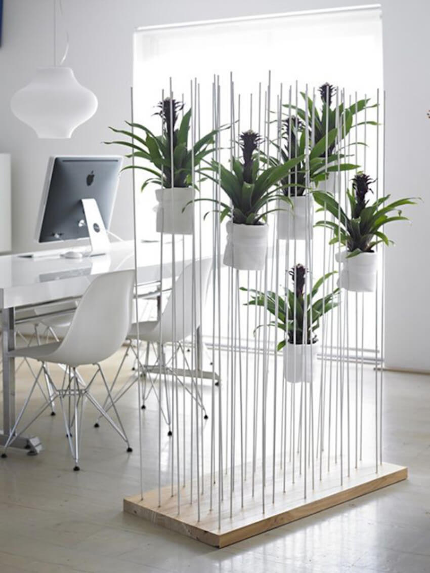 Home interior pegs and planters room divider