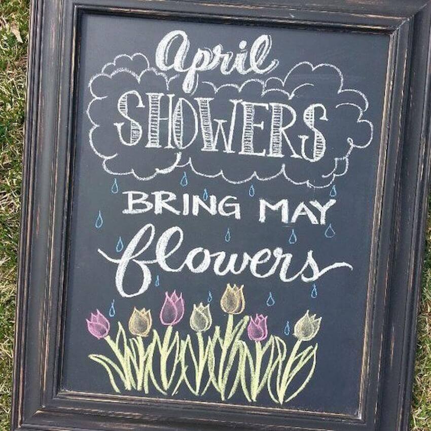 Chalk board home decor for spring