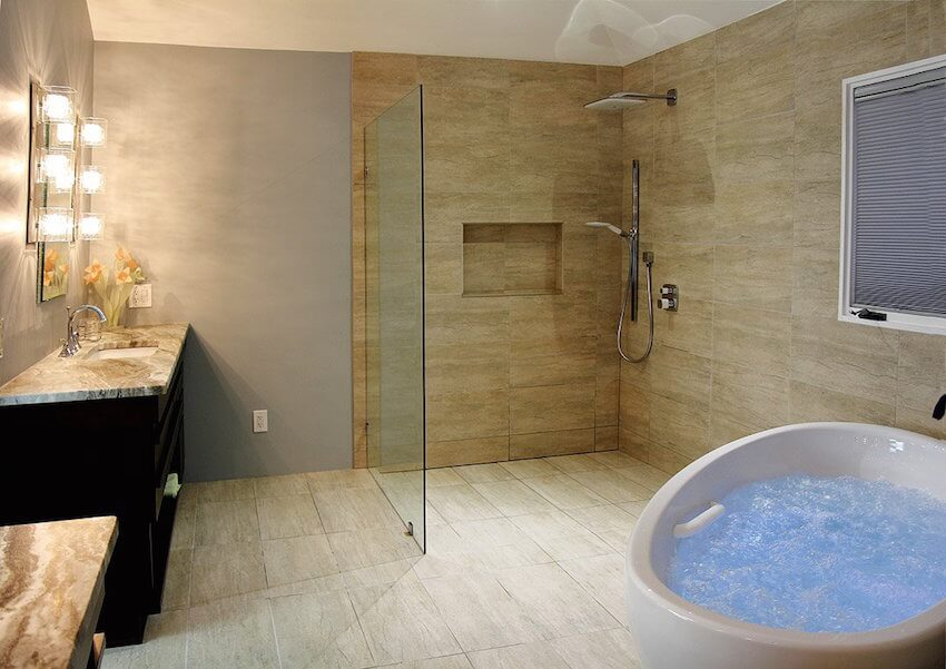 Open, airy, and liberating shower setup
