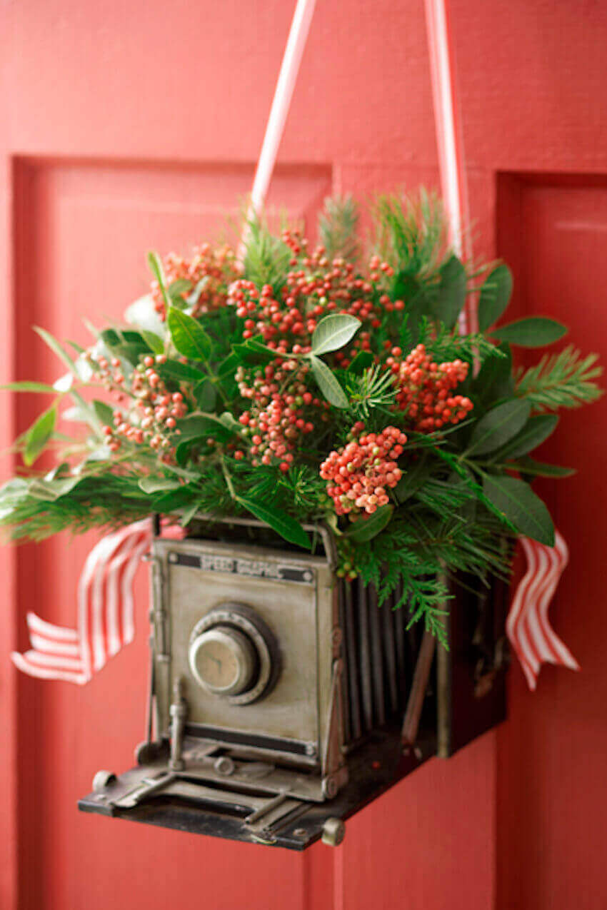 Hang a camera decoration on your front door