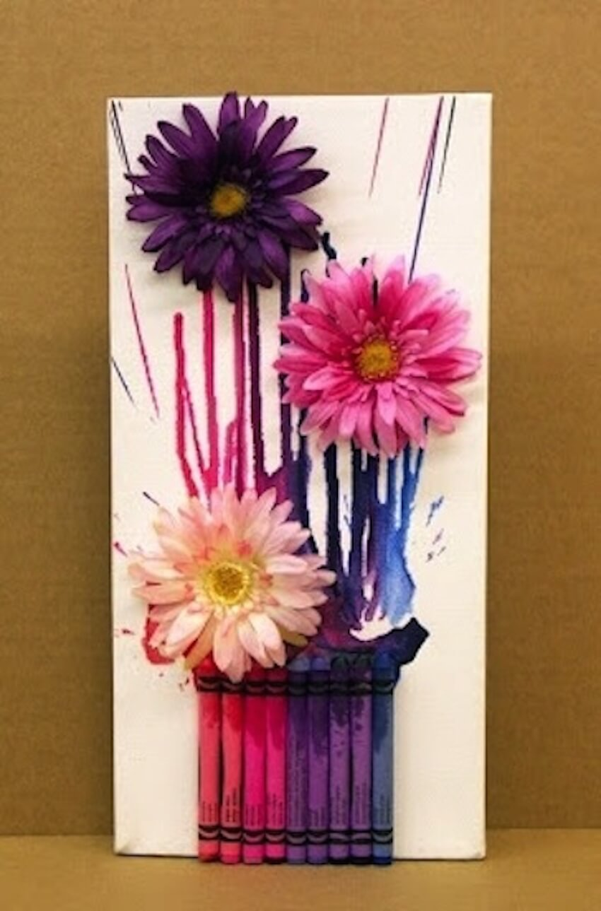 DIY wall art with crayon flowers