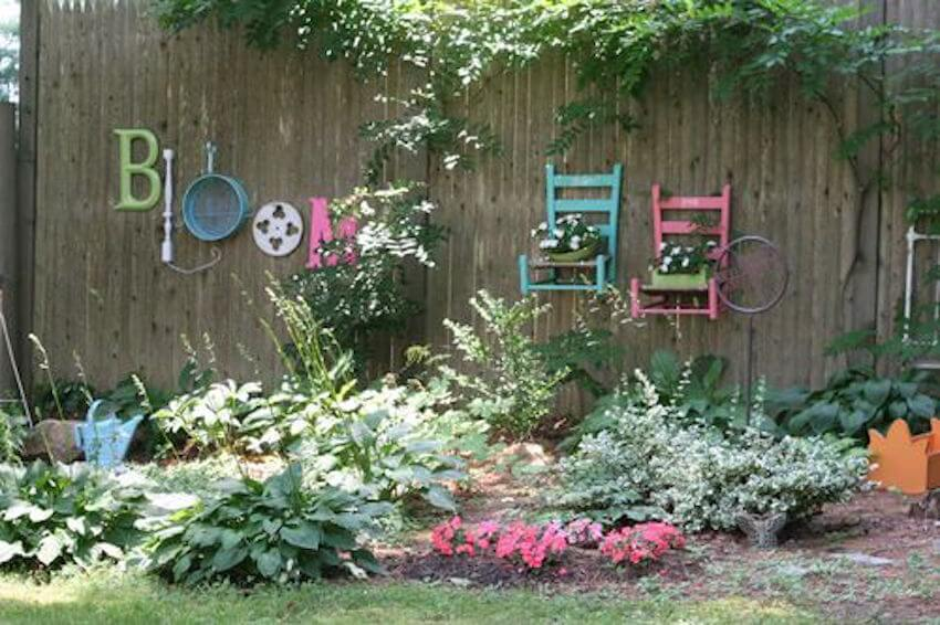Use repurposed items to decorate your fence