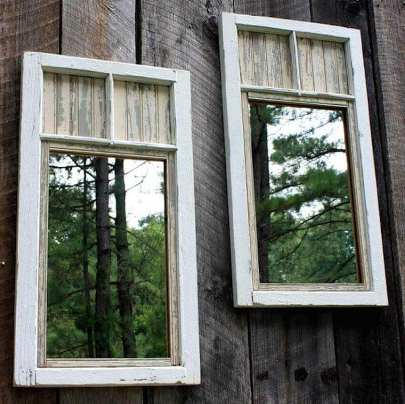 Exterior windows in a backyard fence