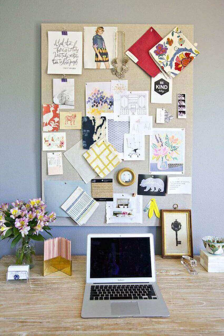 If you do need to have some clutter, make it as organized as possible by using corkboards or baskets to keep it off your desk.