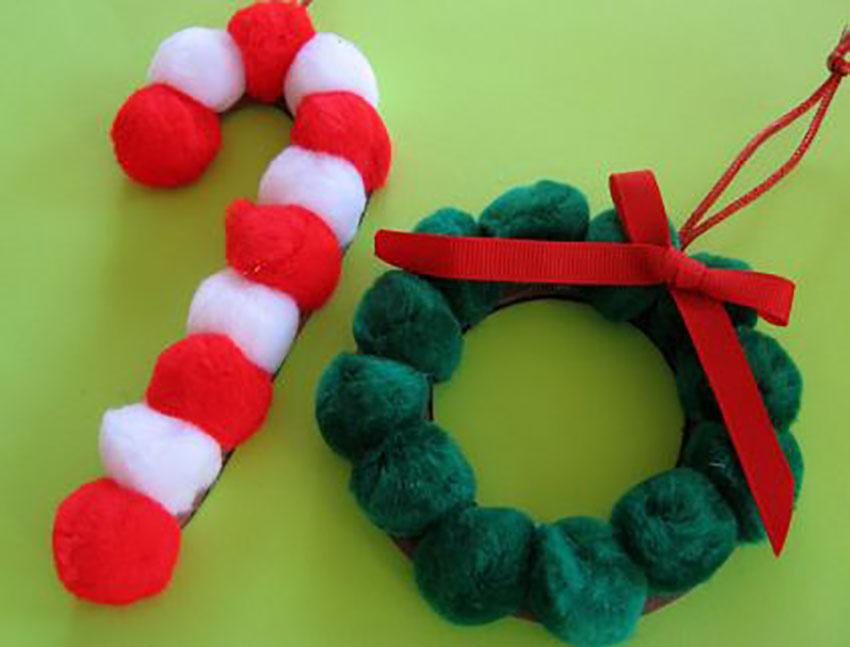 Pom Pom Ornaments Holiday Crafts