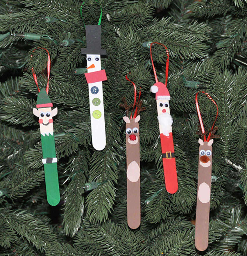 Popsicle Stick Ornaments Christmas Craft For The Whole Family