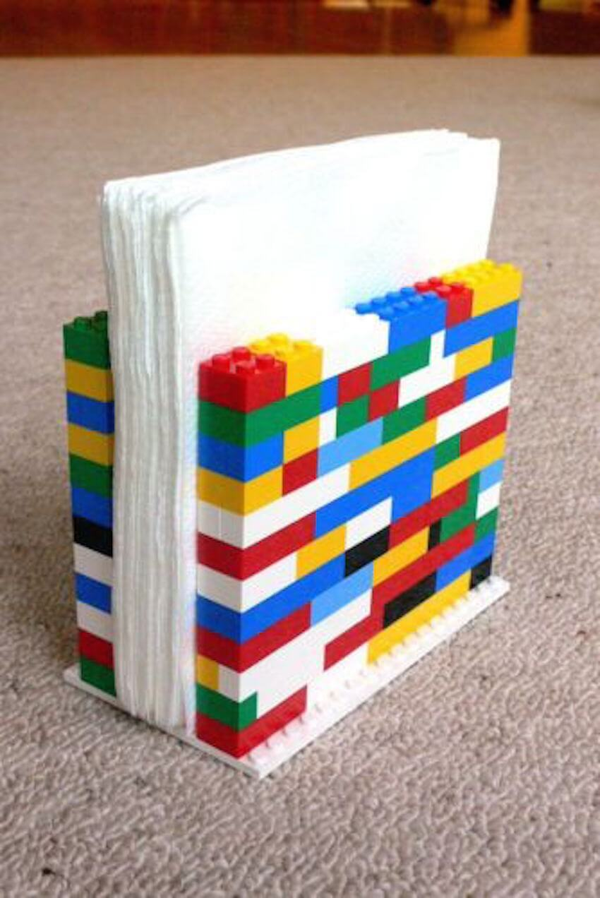 Kitchen improv: Use LEGO pieces to build functional and fun napkin holders (or book ends).