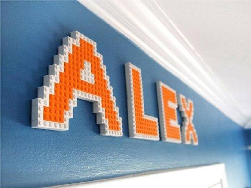 Interior wall decor: Turn your kid's name (or your name) into a work of art using LEGO pieces.