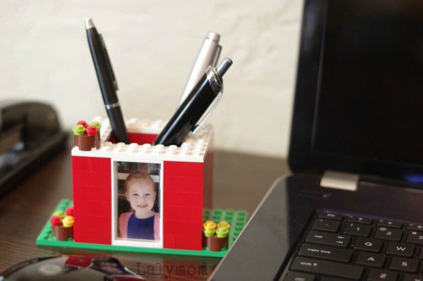 More life hacks: Store your pens and pencils in style with a LEGO writing utensil holder.