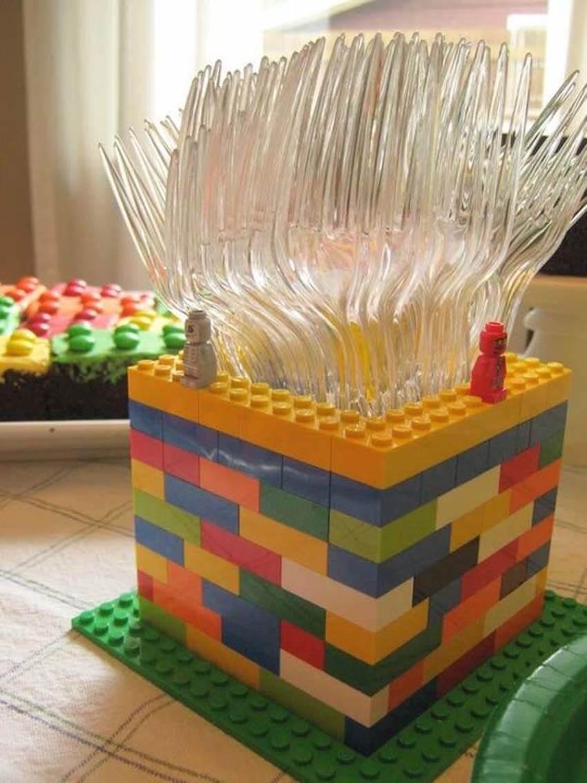 Kitchen hacks: For a creative picnic or backyard bbq idea, use LEGO pieces to build a flatware storage box.
