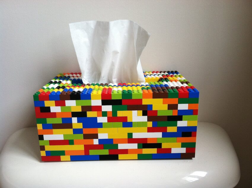 Homemade decor: Whether you're watching a rom-com or your allergies are kicking your butt, this LEGO tissue box cover will make you smile.