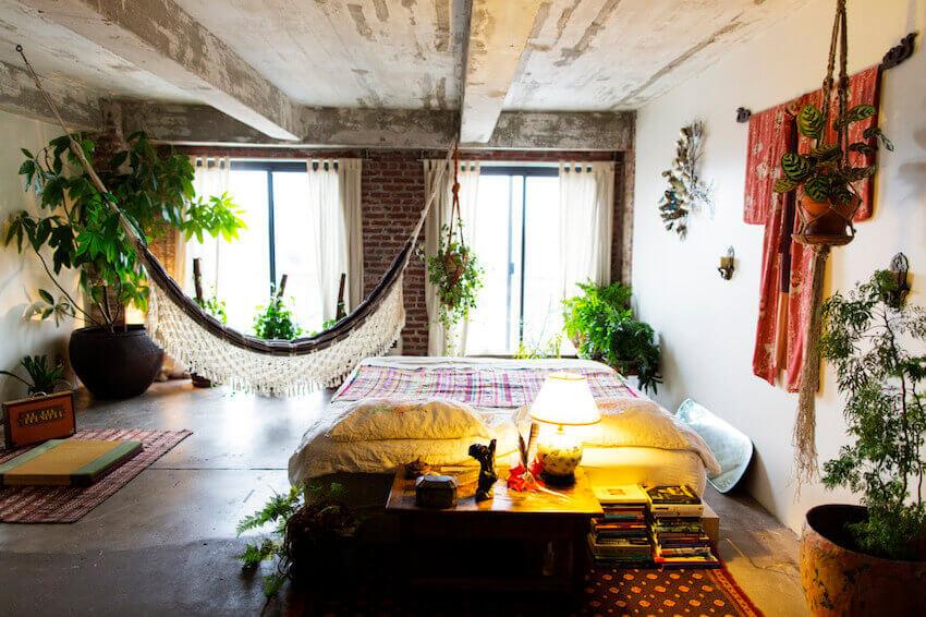 Relaxing hammock on a boho living room