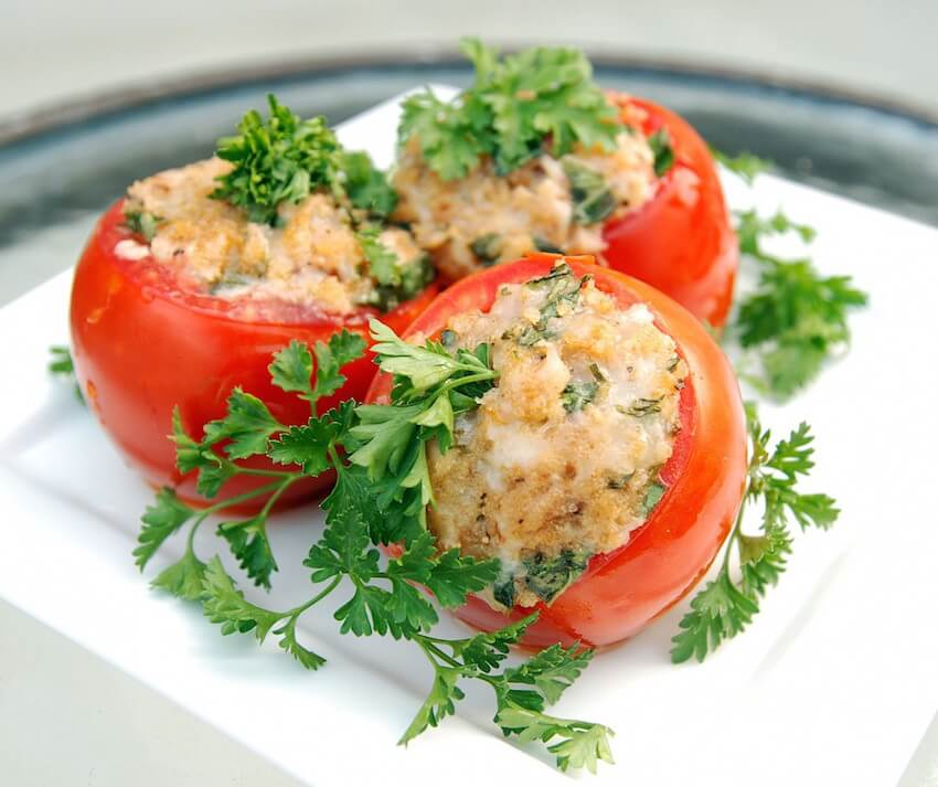 DIY stuffed tomatoes in the kitchen