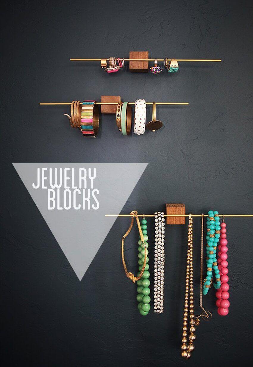 DIY home project: For a touch of modern, minimalist design, make DIY jewelry blocks to hang on your walls.