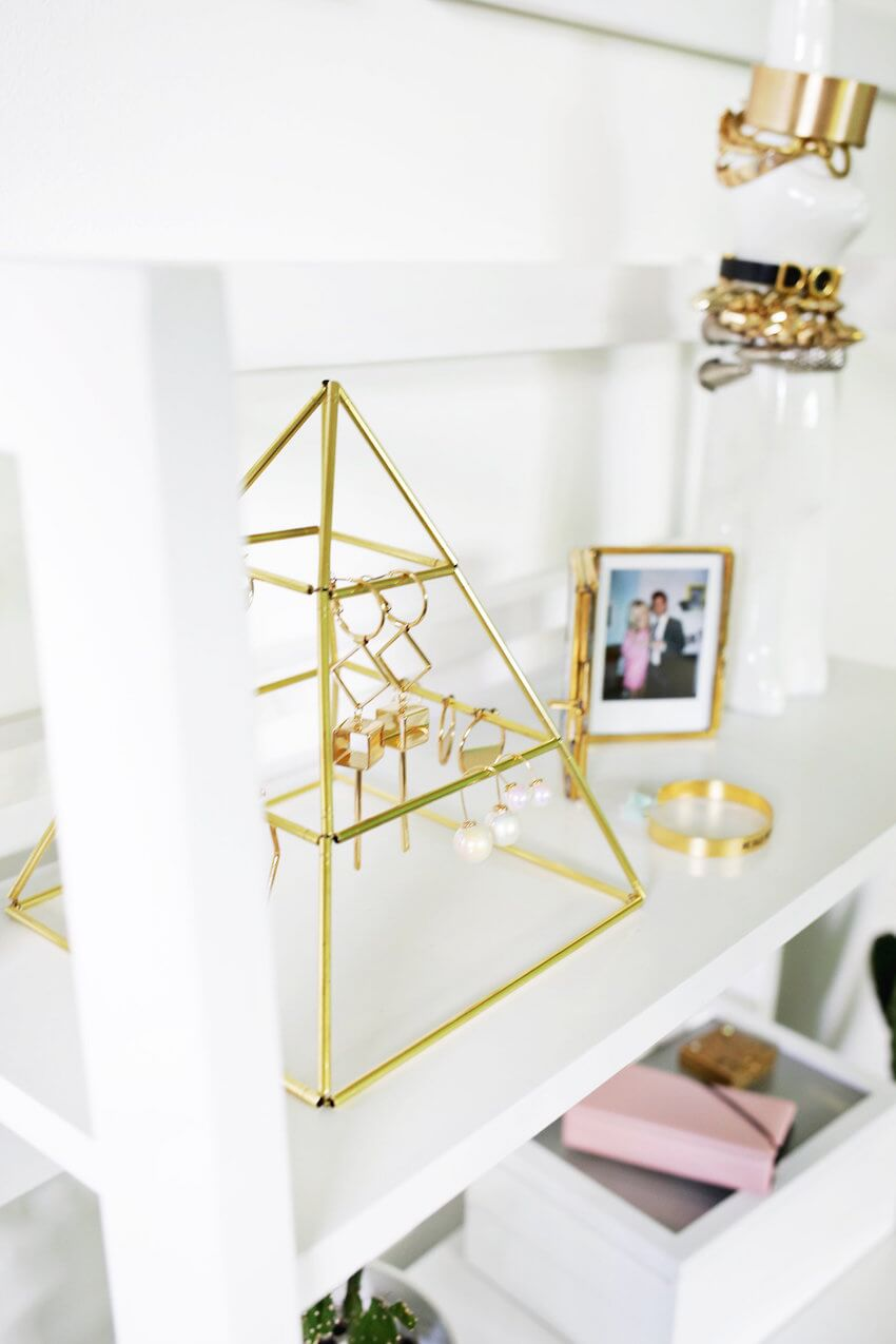DIY: Using some brass tubes, you can create a stunning pyramid that can house your earrings.