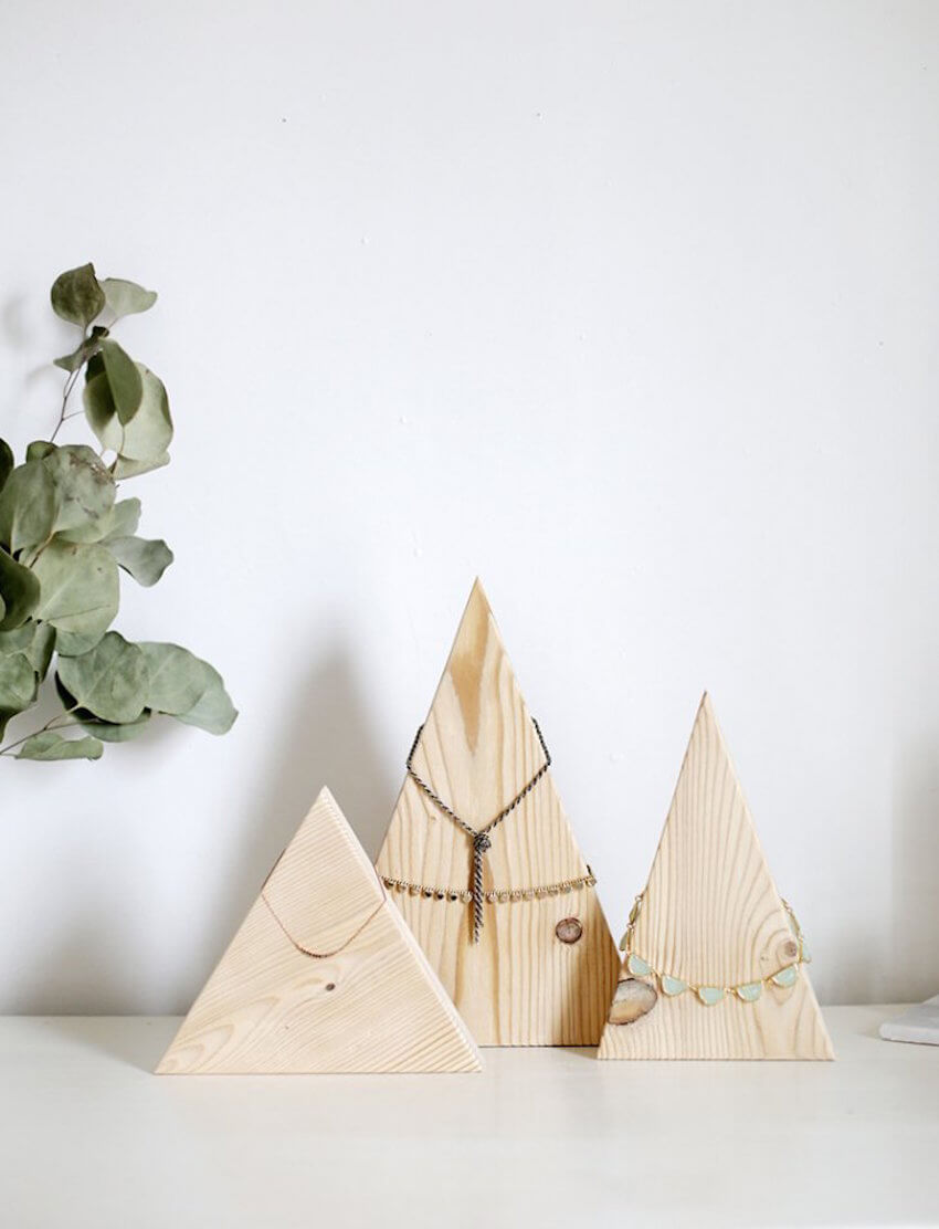 Wooden project: Put your favorite necklaces on display with these DIY mountain jewelry display blocks.