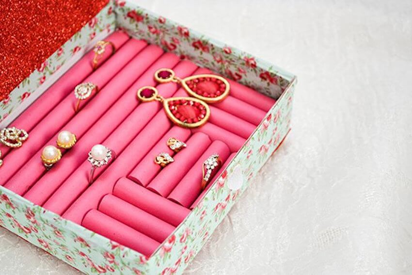 Make a DIY ring box to hold all of your rings and keep them organized.
