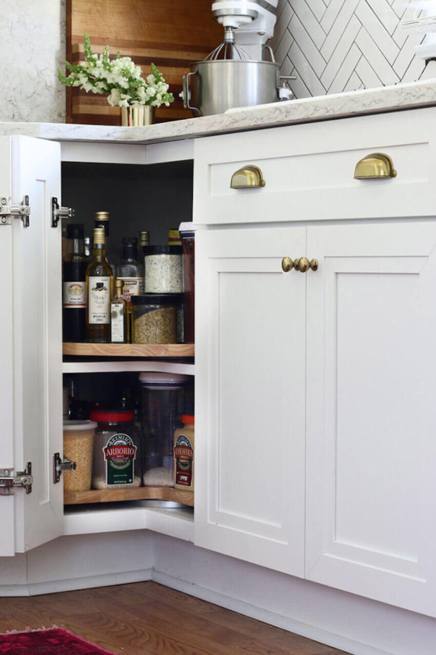 Kitchen organization: a lazy susan helps you reach items in the back of corner cabinets