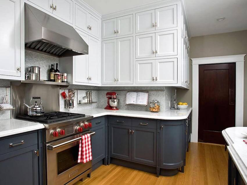 Two tone kitchen cabinets for a rustic interior