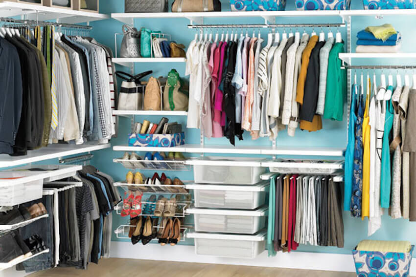 Custom closet organization in a home