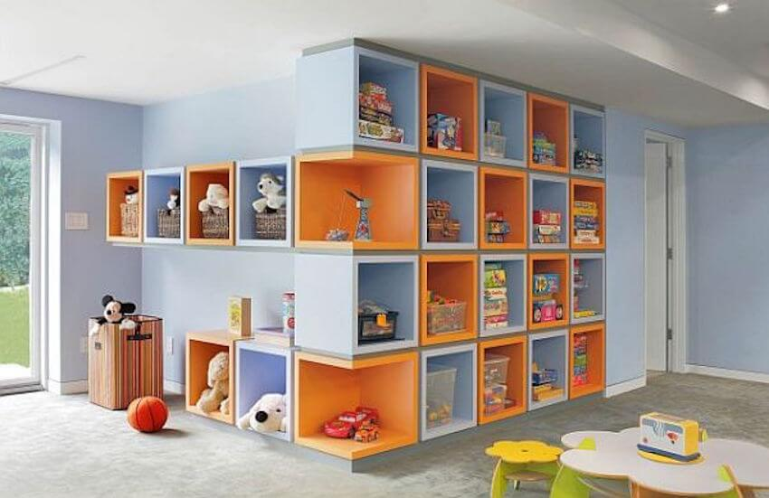 Toys and games are perfectly organized in the home's interior