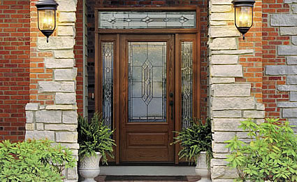 Fiberglass entry doors provide the security of a metal door with the look of classic wood.